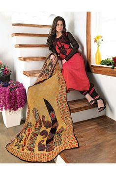 Georgette Pink & Black Embroidery Salwar Suit  - 15368
