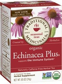 Traditional Medicinals - Echinacea Plus, Organic Herbal Tea, 16 Count Makes you less likely to get sick.