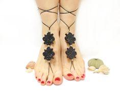 Barefoot sandles- Black barefoot sandal- Gothic Anklet- beaded sandals- Black bangle- Steampunk- Toe ring anklet- Slave anklet, Yoga