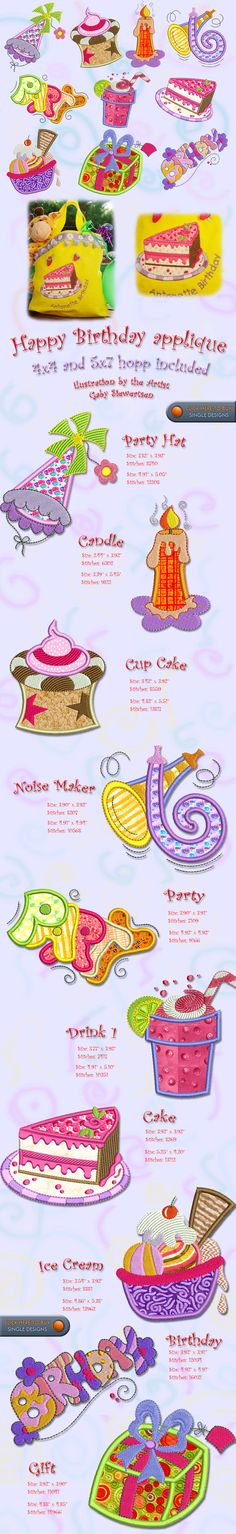 PARTY BIRTHDAY Embroidery Designs Free Embroidery Design Patterns Applique