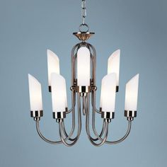 Possini Euro Design Brushed Steel and Opal Glass Chandelier -