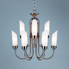 Brushed Steel and Opal Glass Chandelier | LampsPlus.com