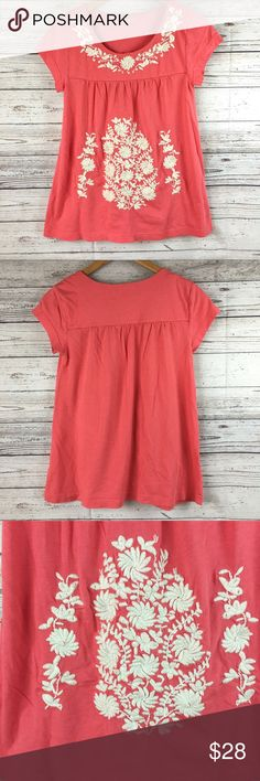 """Garnet Hill Pink Floral Embroidered Top Sz XS Trendy and cute Garnet Hill pink/coral top with white embroidered floral detail. Some of the embroidery is a little looser but still in great shape - as shown in pictures.  Shoulder to hem 24"""", armpit to armpit 15"""". Garnet Hill Tops Tees - Short Sleeve"""