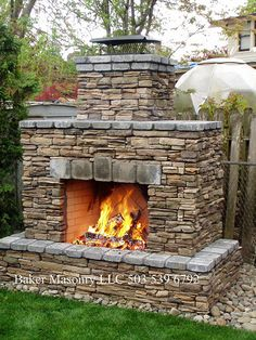 Outdoor Stone Fireplace (Baker Masonry LLC 503 539 6792) by bakermasonry, via Flickr