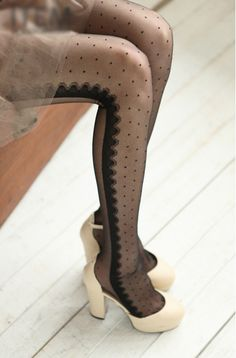 eBay | Women Multi Patterns Dots Stripes Half Clear Stockings Leggings Pantyhose Tights, 2€