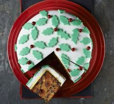 Classic iced holly cake
