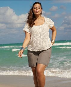 INC International Concepts Plus Size Short Sleeve Lace Top & Cargo Shorts - Shop HER Catalog - Plus Sizes - Macy's