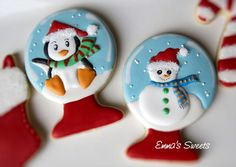 Snow Globe cookies with cute baby penguin  snowman!
