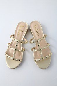 a17622f38730 Mckenzie Champagne Studded Slide Sandals