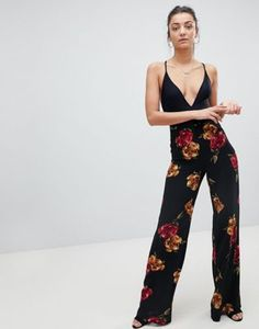 Missguided Tall Floral Wide Leg Pants