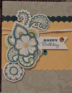 CTMH Florence paper with Ornate Blooms stamp; Birthday card
