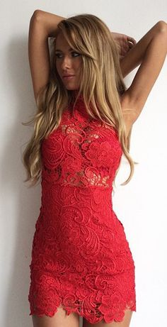 Lace red crochet dress, women fashion outfit clothing style apparel @roressclothes closet ideas