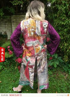 1october sale special offers for silk and jeans clothing Handpainted silkcoat size L. flowers violett silk painting silver coat silk coat long silk coat size L coat painted coat velvet large silk coat womans coat 72.00 EUR #goriani