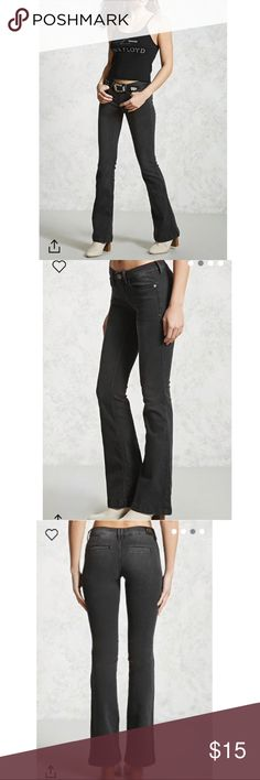 """F21 Flared Wide Leg Dark Wash Black Denim Jeans New w/Tags! Size 7 black fade-wash denim jeans with back welt pockets and wide flared bottoms. Inseam (hand-measures 33"""" crotch to bottom hem) is too long for me, but they're gorgeous! These will look fantastic with heels or wedges! Label is """"Sneak Peek,"""" retailer/tagging is Forever21 (purchased online).  """"A Pair Of Flared Jeans Featuring A Low-Rise, Slanted Front Pockets, Welt Back Pockets, Whiskering, Slight Fading, And A Zip Fly.""""  •77%…"""