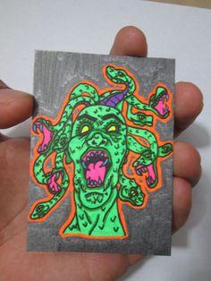 ACEO Original Mad Medusa Horror Black Light Collectible Art Card Mythology ATC #Miniature #ebay #aceo #horror #UV