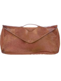 Brown leather shoulder bag from Numero 10 featuring a top handle, a detachable shoulder strap and a front flap closure