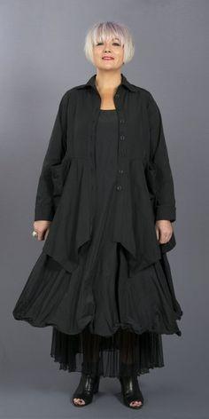 Kamuflage Black Taffeta Wired Hem Dress