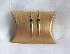Boucles d'oreilles perles d'Onyx & pointe en laiton brut, idée cadeau, bijou personnalisable, ethnique chic by Myo jewel