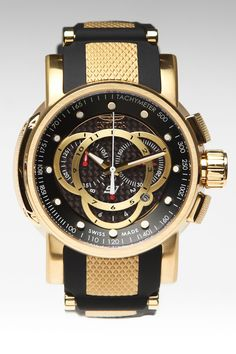 Invicta S1 Round Barrel Swiss Chronograph Watch Gold/Black  Don't usually like this brand but this one is really nice!