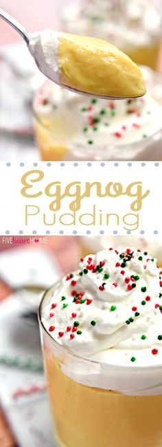 Eggnog Pudding with Whipped Cream ~ sweet, creamy eggnog pudding is a perfect make-ahead dessert for your next holiday party or Christmas dinner! | FiveHeartHome.com
