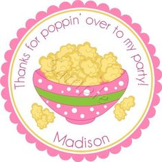 Popcorn Party.  Personalized stickers by partyINK.