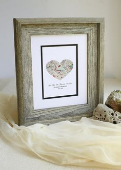 We Met We Married We Live Personalized Map Heart Love
