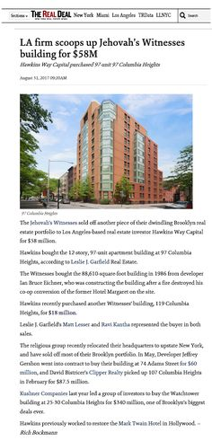 Jw News, Columbia Heights, Jehovah's Witnesses, Brooklyn, Mens Sunglasses, The Unit, Building, Style, Swag