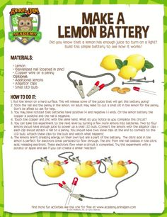 Make your own LEMON BATTERY using these easy instructions from Animal Jam Academy. Light it up and #playwild!