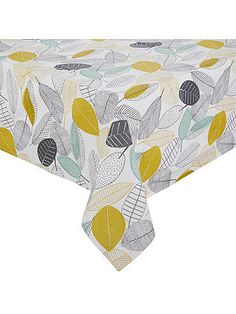 John Lewis & Partners Scandi Leaves Wipeable Tablecloth, Multi at John Lewis & Partners Collection Services, Leaf Table, Leaf Design, Table Linens, Home Collections, John Lewis, Cleaning Wipes, Leaves, Dining Room