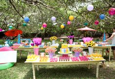 lilac and yellow Bbq Party, Candy Party, Beach Party, Picnic Decorations, Outdoor Birthday, Minion Birthday, Candyland, Holidays And Events, Party Planning