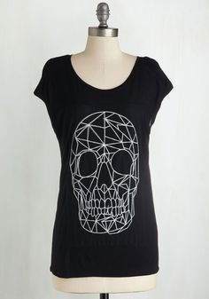 Connect the Thoughts Top - Mid-length, Jersey, Knit, Black, Print, Casual, Skulls, Short Sleeves, Good, Scoop, White