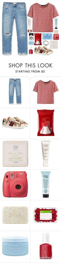 """""""Good girl/bad habits"""" by dianakhuzatyan ❤ liked on Polyvore featuring MANGO, WithChic, Gucci, Koh Gen Do, CASSETTE, Christian Dior, philosophy, Fresh, Aveda and Essie"""