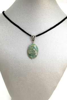 Natural Gemstone Amazonite Pendant Necklace Black Cord 17' Fengshui Chakra Gift @Gail Regan Truax://stores.ebay.com/BeautyandtheGems.