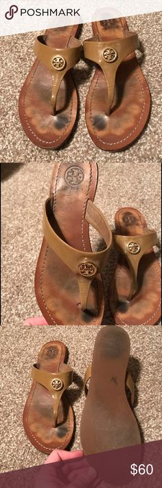 Tory Burch Cameron Thong Sandals Tory Burch T-strap sandals make an elegant impression in glossy patent leather with a polished logo medallion. Rubber sole. They have been worn a lot & have been my favorite sandals for years, but I've finally bought a new pair. These babies deserve a new home. ☺️ Tory Burch Shoes Sandals