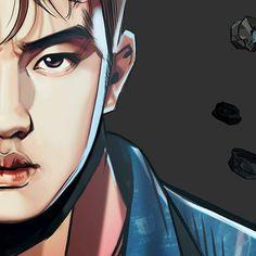 "graphic illustration by Frank Studio from ""The War"" album // #exo #comeback #kokobop #thewar #d.o. #kyungsoo"