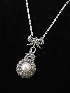 Victorian silver pearl marcasite necklace AN028 Bridal Jewellery Marcasite Jewelry, Vintage Bridal, Bridal Jewellery, Silver Pearls, Wedding Accessories, Wedding Stuff, Victorian, Pendant Necklace, Diamond