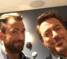 Chris Evans and Robert Downey Jr. at Backstage of Nickelodeon's Kids Choice Awards 2016