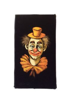 Vintage Clown Painting on Black Velvet Artist by JacobandCharlies SOLD