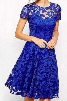 Stylish Round Neck Short Sleeve Solid Color Lace Women's Dress / Dress Lily