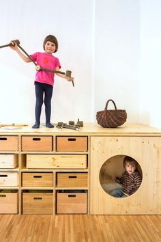 Super fun storage for kids via the contemporist - with a sneaky little playhouse!