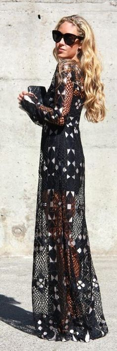 Black And White Geo Print Sheer Tulle Maxi Dress