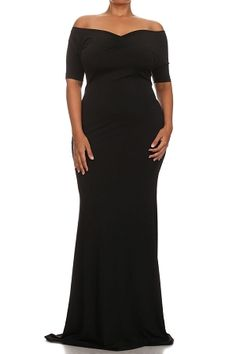 Black Madison Off Shoulder Maxi Dress
