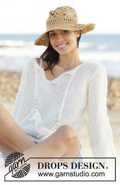 Free knitting patterns and crochet patterns by DROPS Design Drops Design, Knitting Patterns Free, Knit Patterns, Free Knitting, Magazine Drops, Knitting Gauge, Feather Pattern, Summer Knitting, White Feathers