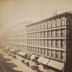 """SoHo of the 1850' -- Broadway was transforming from a street of small retail shops into """"a boulevard of marble, cast-iron, and brownstone commercial palazzos"""" (as the historic designation report put it). The Haughwout building was one example of the nature of the new buildings, yet across the street stood the St. Nicholas Hotel (pictured here), once said to be """"the largest and most elegant hotel in the world..with the handsomest marble front in New-York."""" by the NY Daily Tribune."""