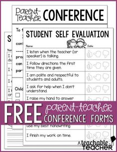 FREE Parent-Teacher Conference Forms and student self-evaluation/goal setting Teacher Organization, Teacher Tools, Teacher Hacks, Teacher Resources, Parent Teacher Conference Forms, Parent Teacher Communication, Parent Teacher Interviews, Student Self Evaluation, Evaluation Form