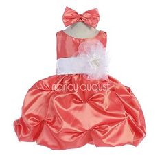 This Orange taffeta baby dress with pickup bubble skirt is too adorable for words. A perfect baby dress to match her big sisters Orange flower girl dress as this dress is conveniently available in baby and girls sizes. This elegant light weight matte taffeta dress features a removable waistband with sash tie in back and a delicious pickup bubble skirt with crinoline enhancement. Best of all you can pick your own customized sash color to match all your bridesmaid dresses!