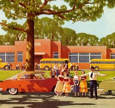 Crossing Guard, art by Leslie Ragan: One of the greatest things about America--public education! Note by Roger Carrier Pin Ups Vintage, Vintage Art, Vintage Paintings, School Daze, Art School, Life In The 1950s, Leaving School, Vintage School, School Memories