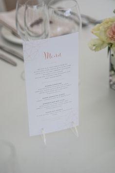 Geometric inspired printed wedding menu card. Including our custom perspex menu holder feet to hold them upright. #weddingstationery #weddingmenu #menu #geometric