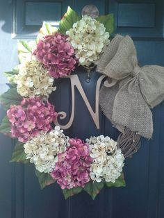 Front door wreath, hydrangea wreath, burlap wreath, grapevine, french country, burlap bow on Etsy, $59.00