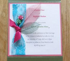 Items similar to Lace Wedding Invitation: Boutonniere Blue Knotted Lace with Roses & Leaves on Pink - Customisable on Etsy July 6th, Rsvp, Knots, Reception, Marriage, Invitations, Unique Jewelry, Lace, Handmade Gifts